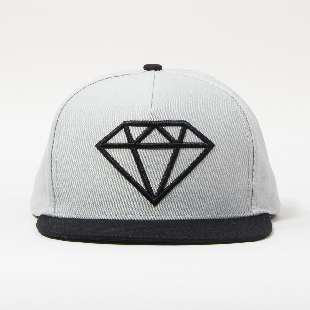 Diamond Rock Logo Men's Snapback Hat - Grey/Black