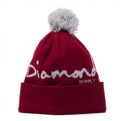 Diamond OG Script Pom Men's Beanie - Burgundy/Grey