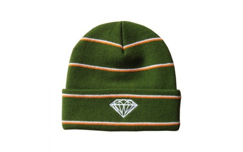 Diamond Striped Men's Beanie - Green/Orange