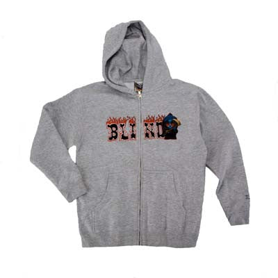 Blind Kenny Burning Man Zip Up - Athletic Heather - Youth Sweatshirt