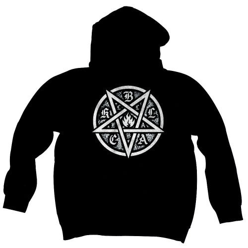 Black Label Pentagram Zipper Men's Sweatshirt - Black