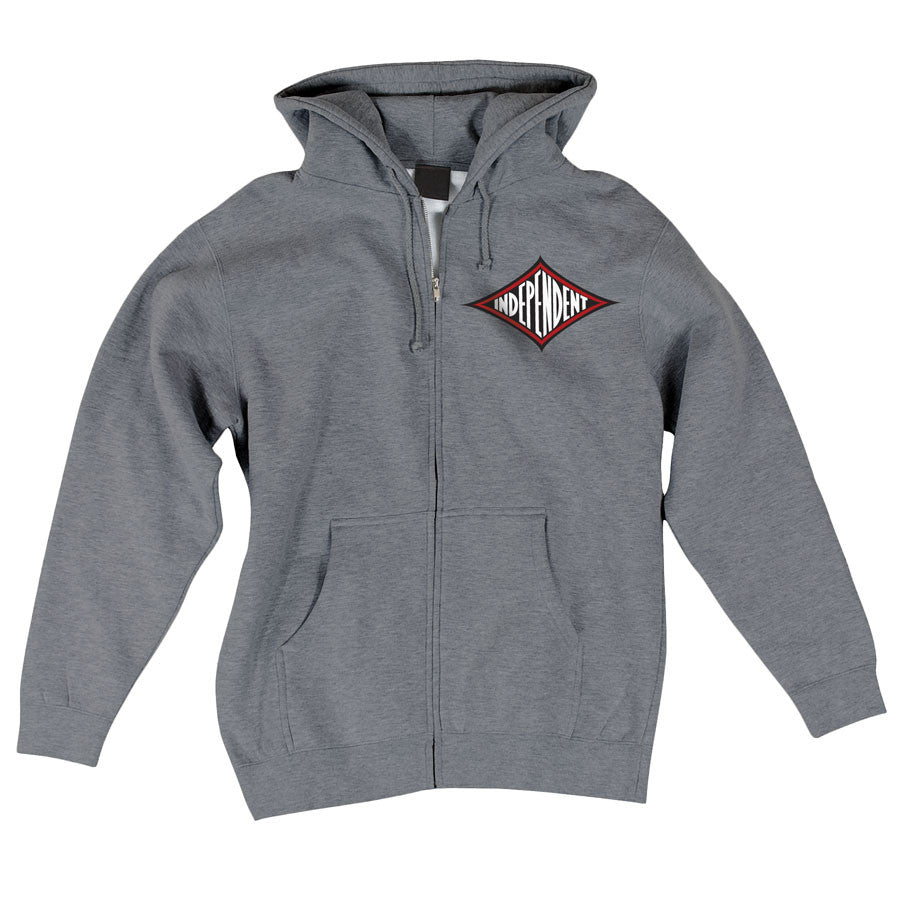 Independent Diamond Re-work Hooded Zip L/S - Gunmetal Heather - Men's Sweatshirt