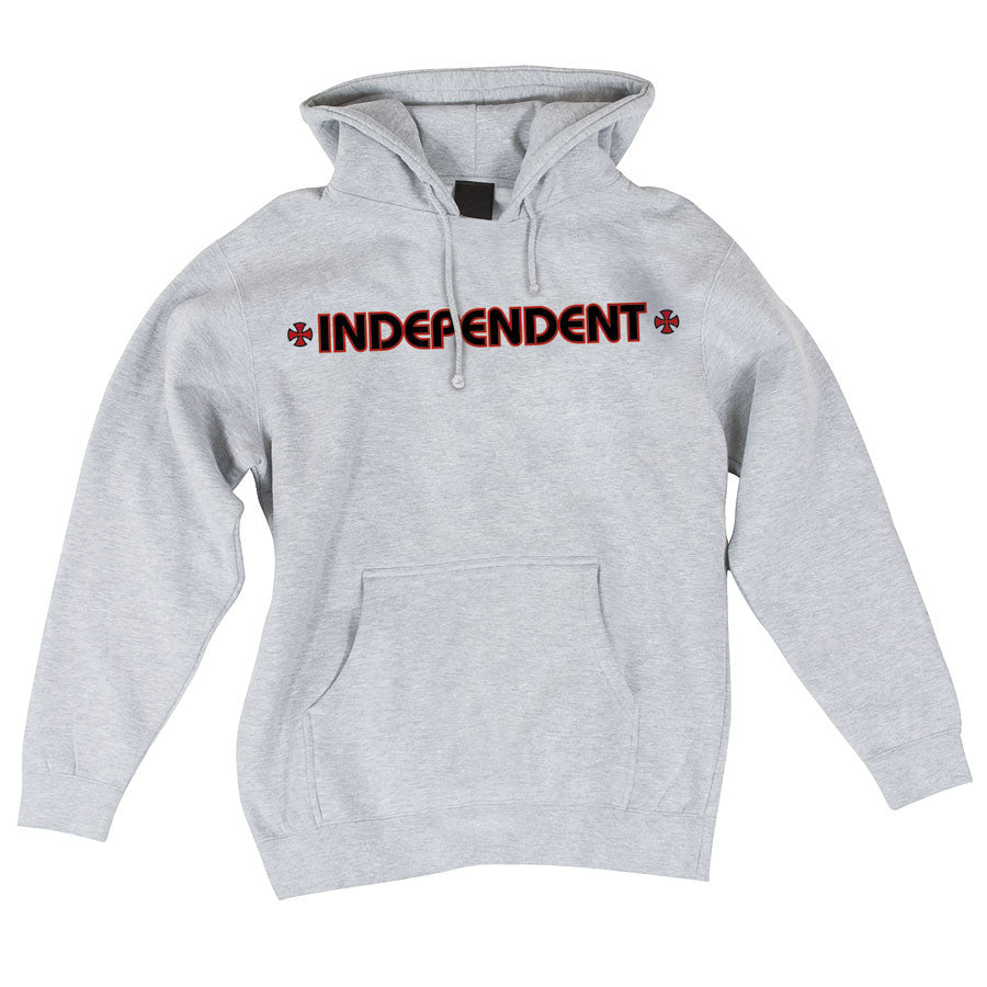 Independent Bar/Cross Pullover Hooded L/S - Grey Heather - Men's Sweatshirt