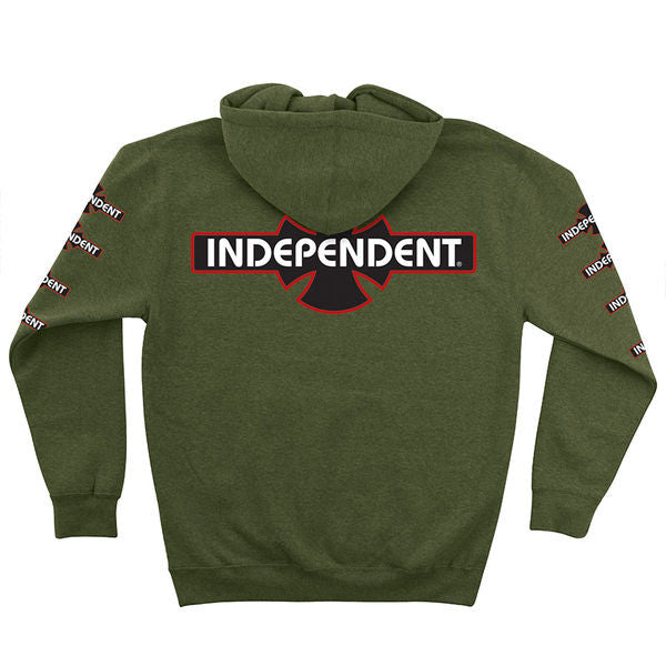 Independent O.G.B.C. Hooded Zip L/S - Men's Sweatshirt - Army Heather