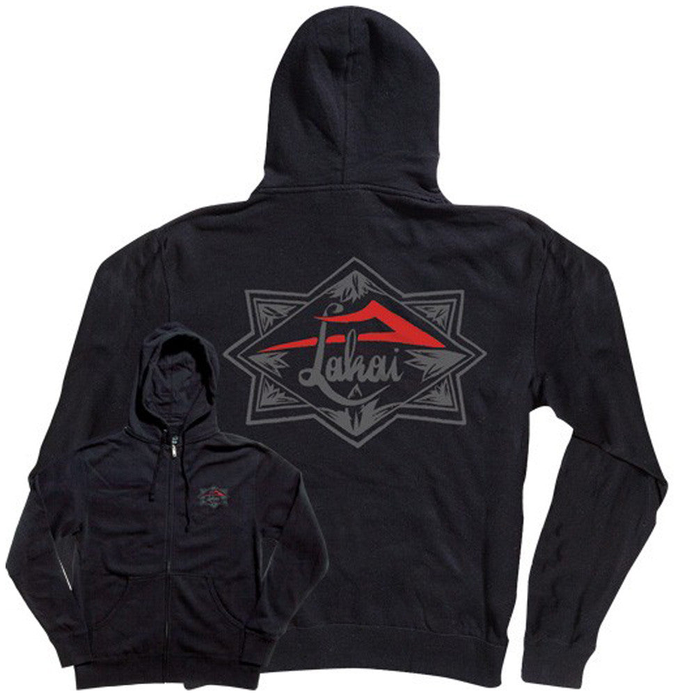 Lakai Script Zip-Up Hooded Men's Sweatshirt - Black