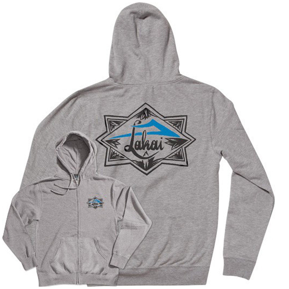 Lakai Script Zip-Up Hooded Men's Sweatshirt - Heather Grey