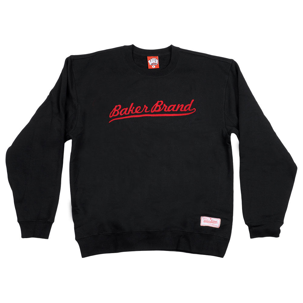 Baker Brand Script Crew Neck Men's Sweatshirt - Black