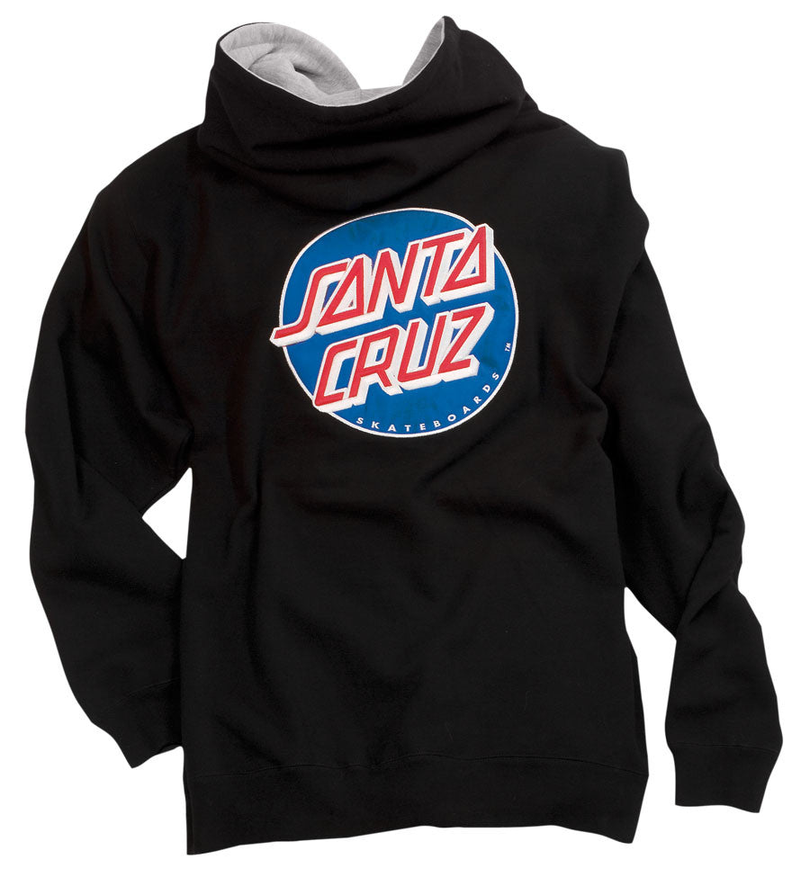 Santa Cruz Classic Dot Hooded Zip L/S Thermal Lined - Black - Mens Sweatshirt