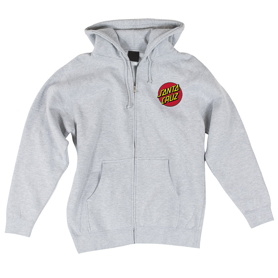 Santa Cruz Classic Dot Hooded Zip L/S -  Grey Heather - Mens Sweatshirt