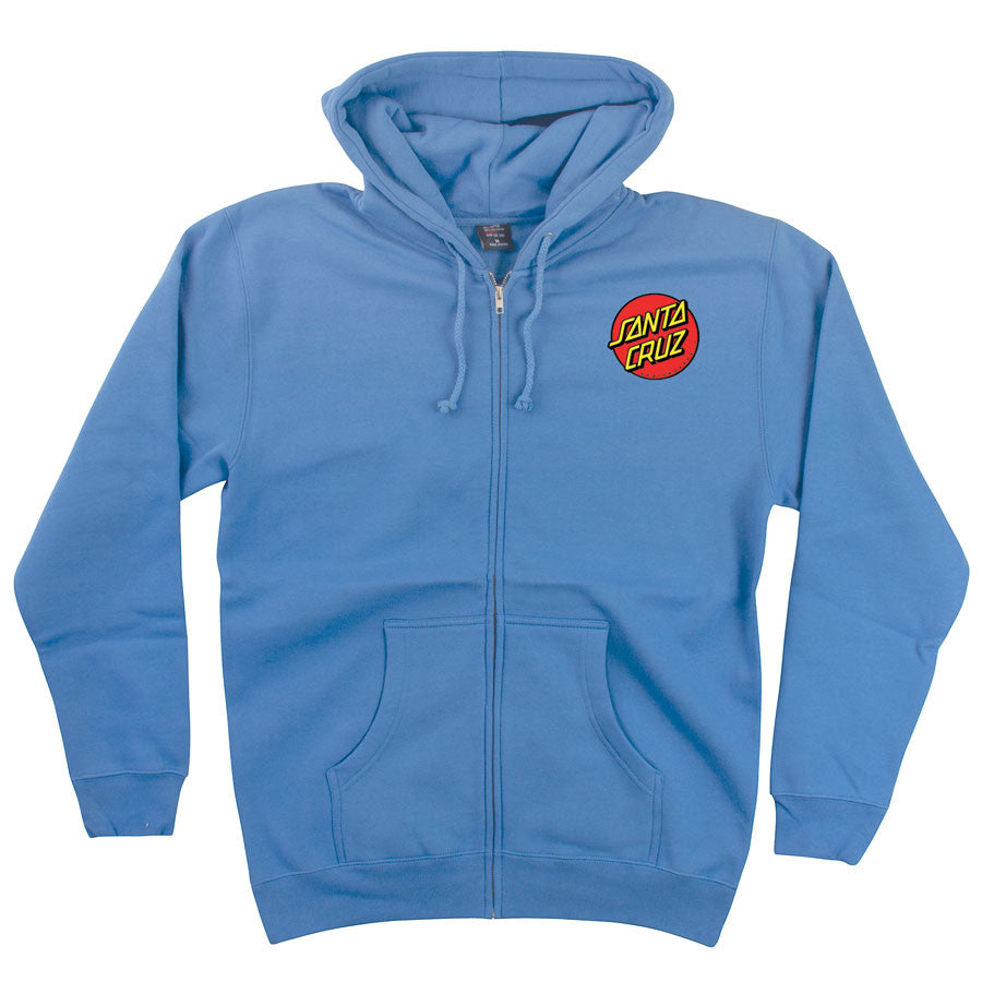 Santa Cruz Classic Dot Hooded Zip Long Sleeve Men's Sweatshirt - Collegiate Blue