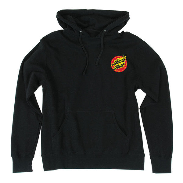 Santa Cruz Flaming Dot Pullover Hooded L/S - Black - Mens Sweatshirt