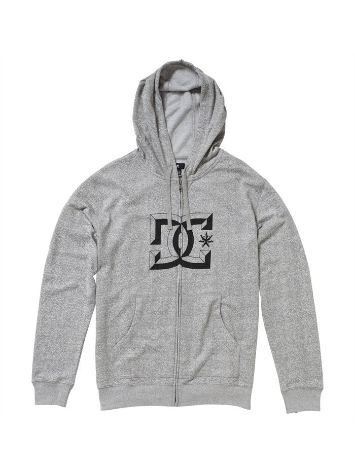 DC D-Rebel Zip-Up Hoodie - Heather Grey - Men's Sweatshirt