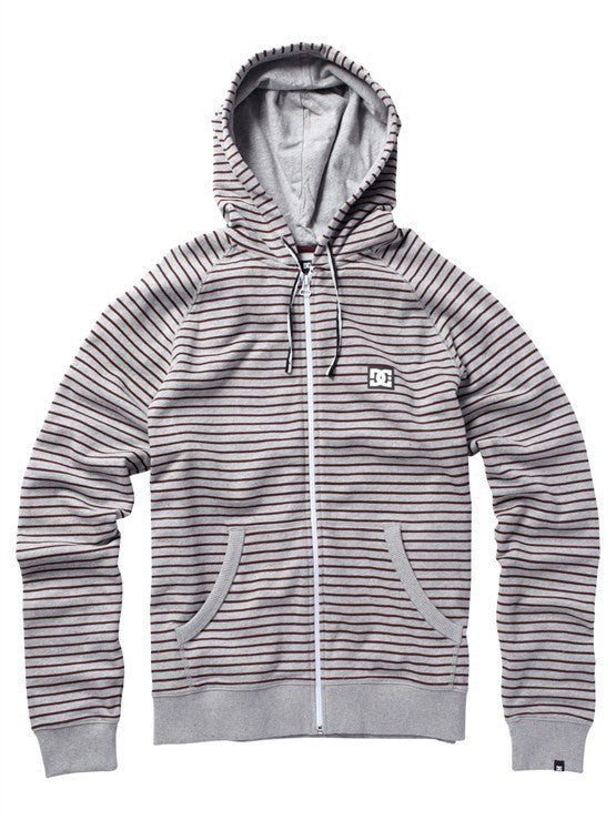 DC Cage Stripe Full Zip Men's Sweatshirt - Heather Grey
