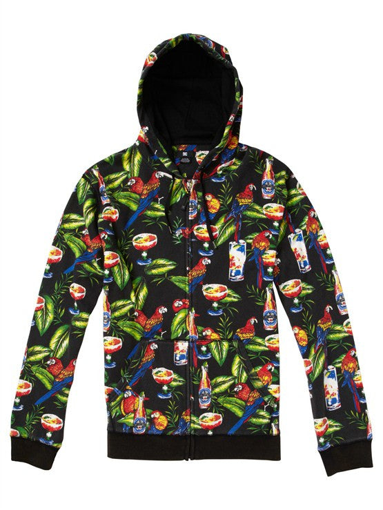 DC Print Party Full Zip Hoodie - Black Print - Men's Sweatshirt