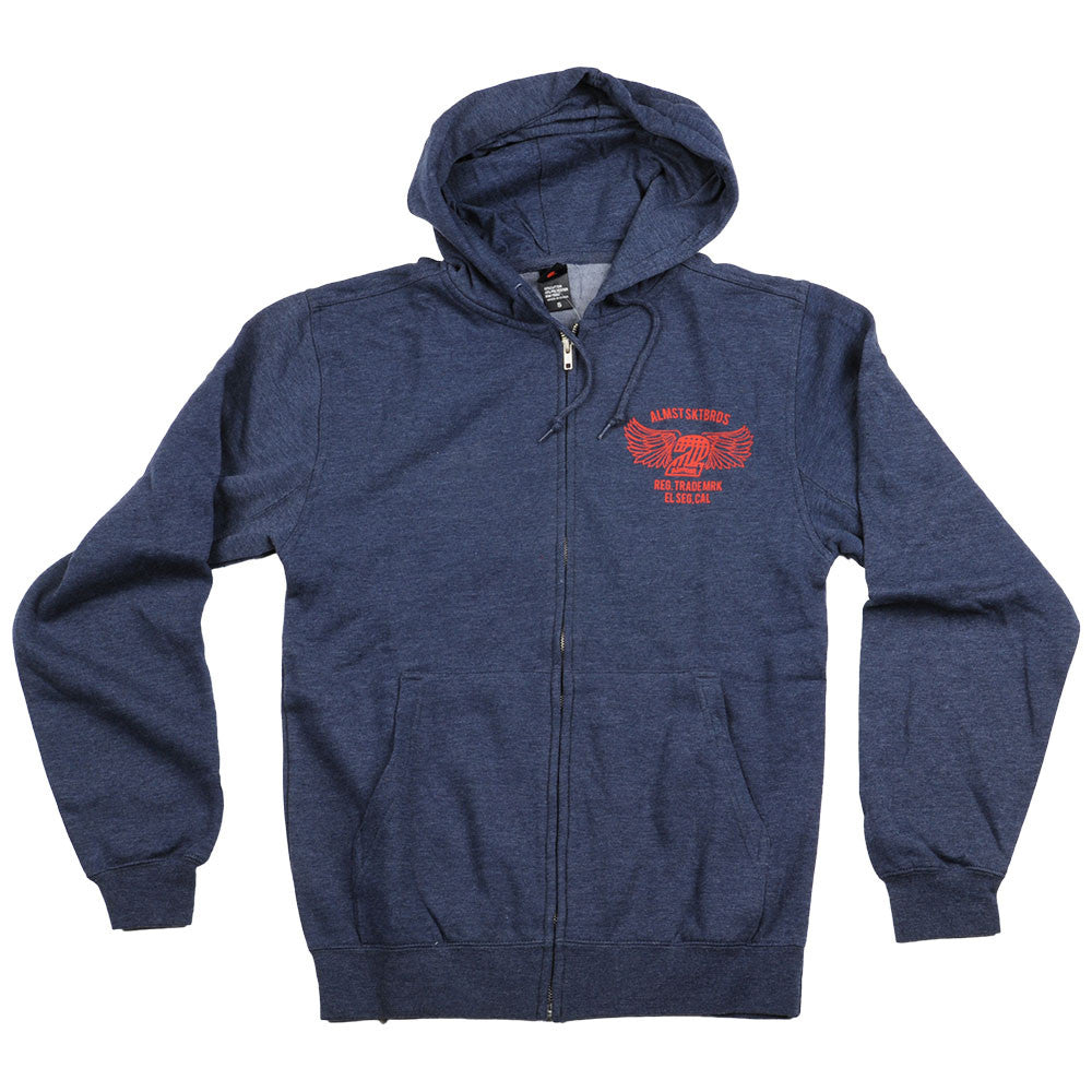 Almost Steel Horse Zip Hooded Men's Sweatshirt - Navy/Heather