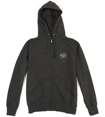 Royal Crown Crest Zip Hooded Men's Sweatshirt - Charcoal