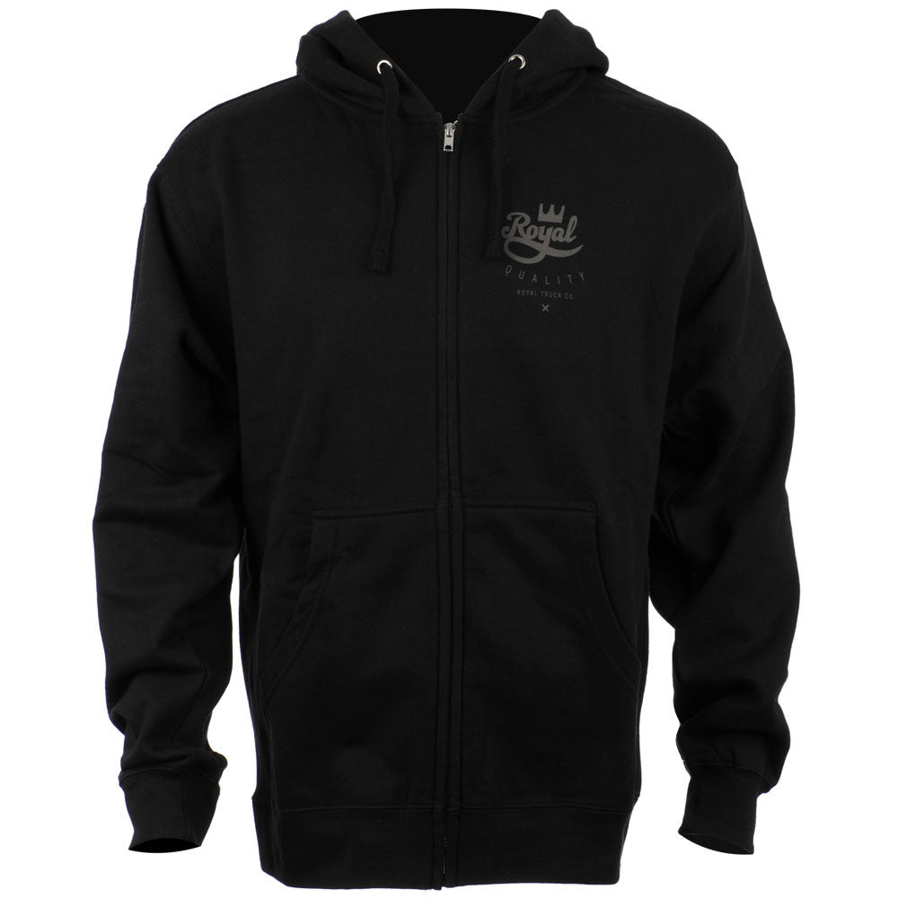 Royal Crown Script Hooded Zip-Up Men's Sweatshirt - Black