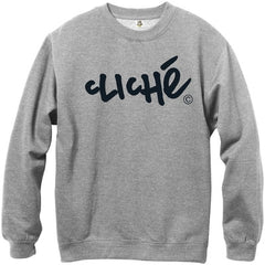 Cliche Handwritten Classic Crew - Athletic Heather/Black - Men's Sweatshirt