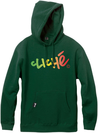 Cliche Handwritten Gradient Pullover Men's Sweatshirt - Dark Green