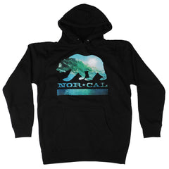 Nor Cal Wave Bear Pullover Hooded L/S Men's Sweatshirt - Black