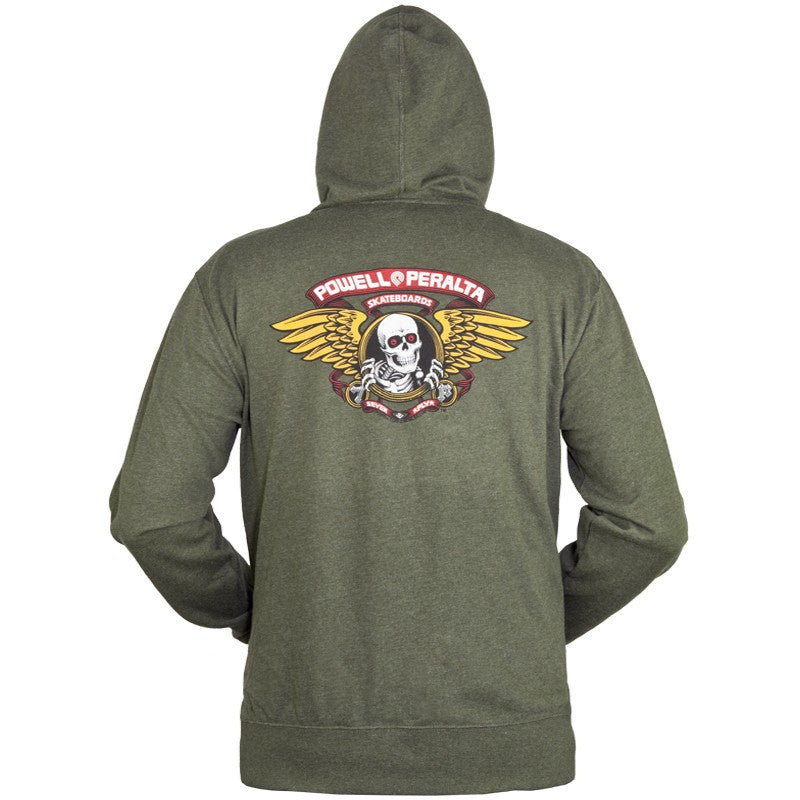 Powell-Peralta Winged Ripper Hooded Zip Youth Sweatshirt - Olive Heather