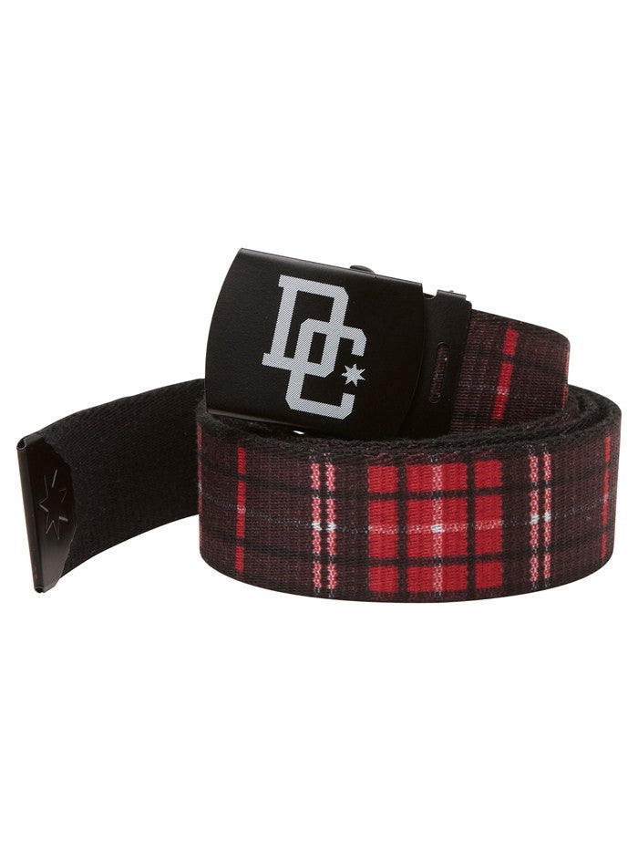 DC Broomstick OS Men's Belt - Deep Red Plaid