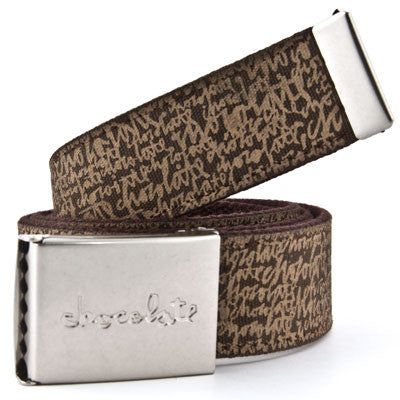 Chocolate Script Stripe Belt - Brown