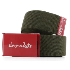 Chocolate Red Square Men's Belt - Green