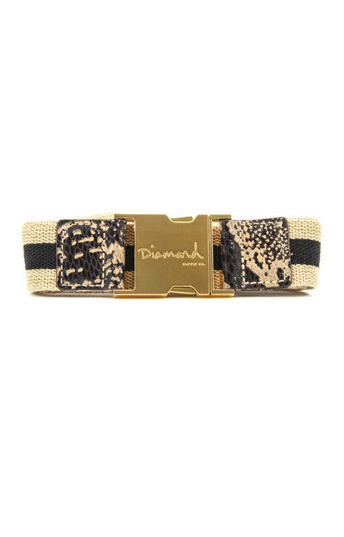 Diamond Terry Men's Belt - Cream/Gold
