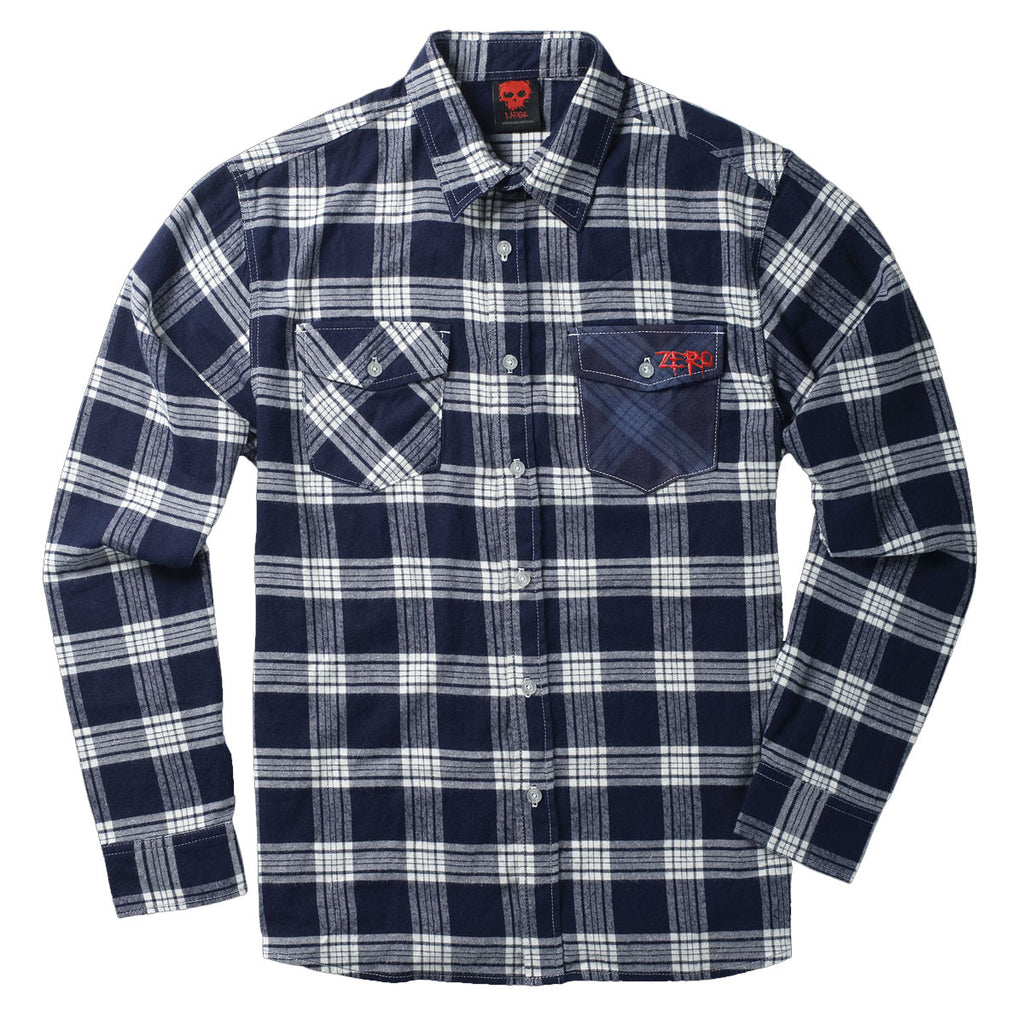 Zero Flannel Men's Collared Shirt - Navy - Small