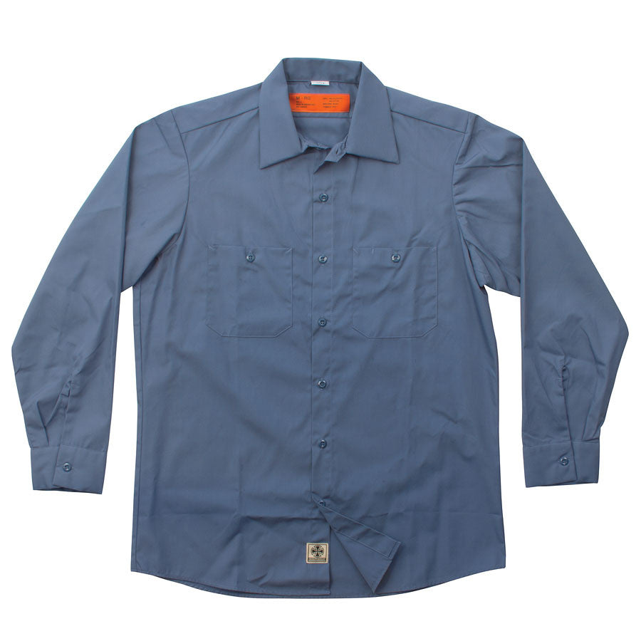 Independent NO BS Button Up L/S Men's Collared Shirt - Postman Blue