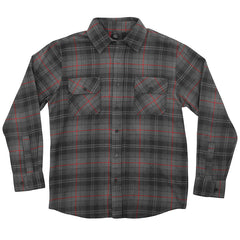 Independent Master Button Up L/S Men's Collared Shirt - Grey/BlackRed Plaid