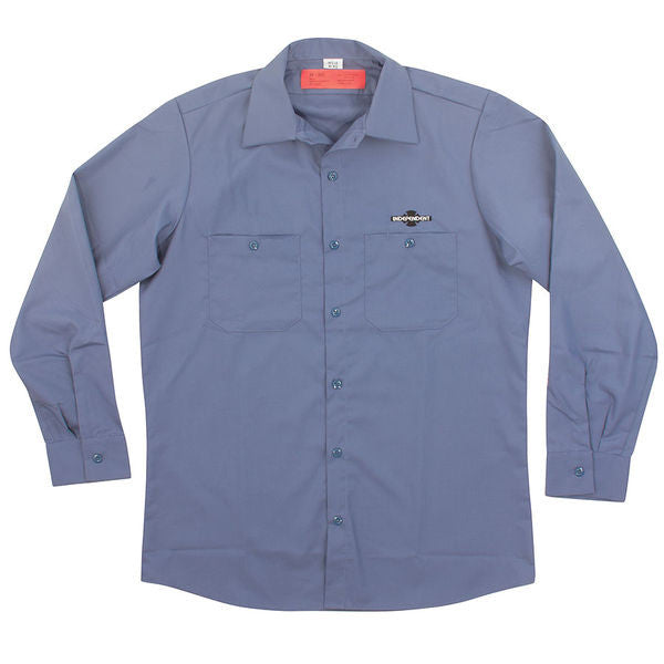Independent Daily Grind L/S Men's Collared Shirt - Postman Blue