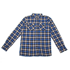 Habitat Poplar Men's Collared Shirt - Black/Royal Plaid - Medium