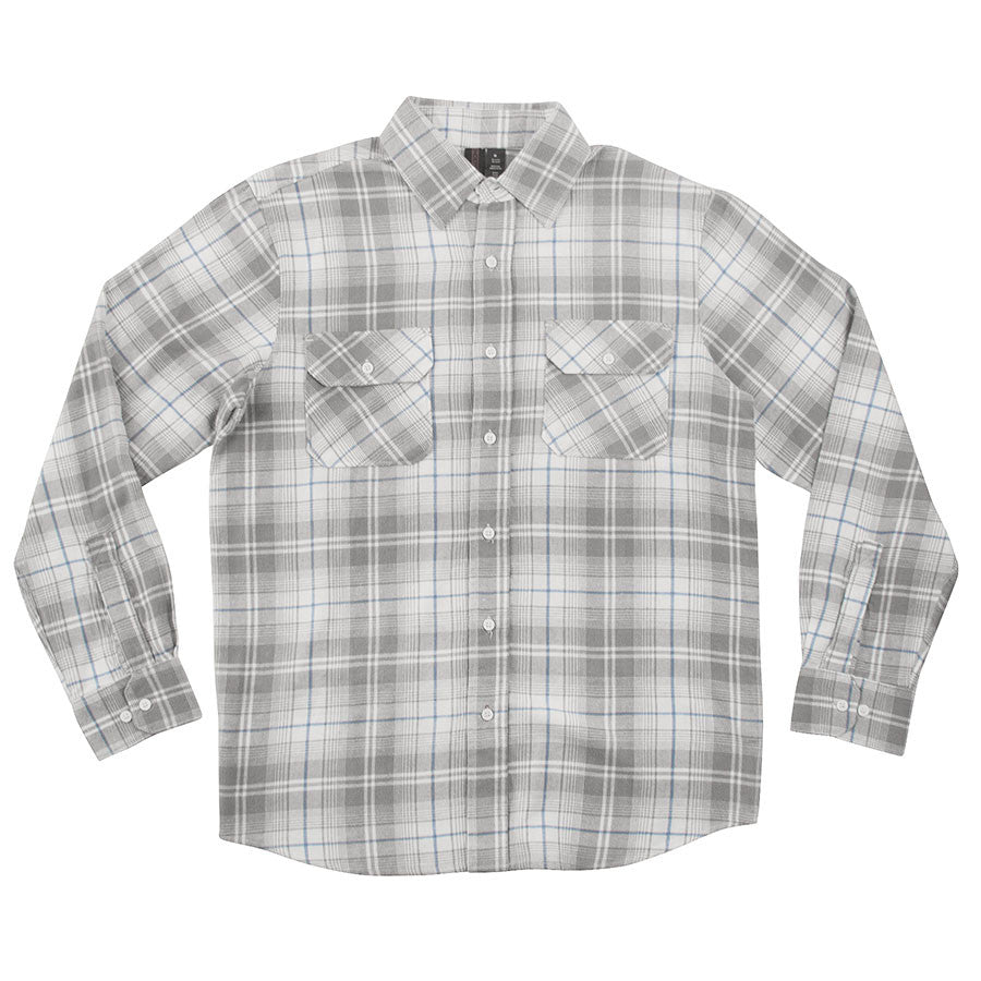 Independent Master Button Up L/S Men's Collared Shirt - White/Grey/Blue