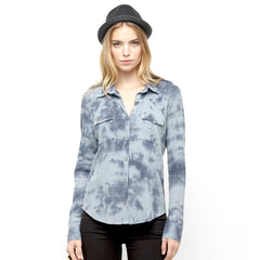 Roxy Madras Women's Collared Shirt - Ombre Blue