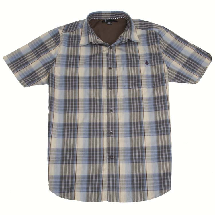 Volcom X Factor Plaid Men's Collared Shirt - Oatmeal - Small