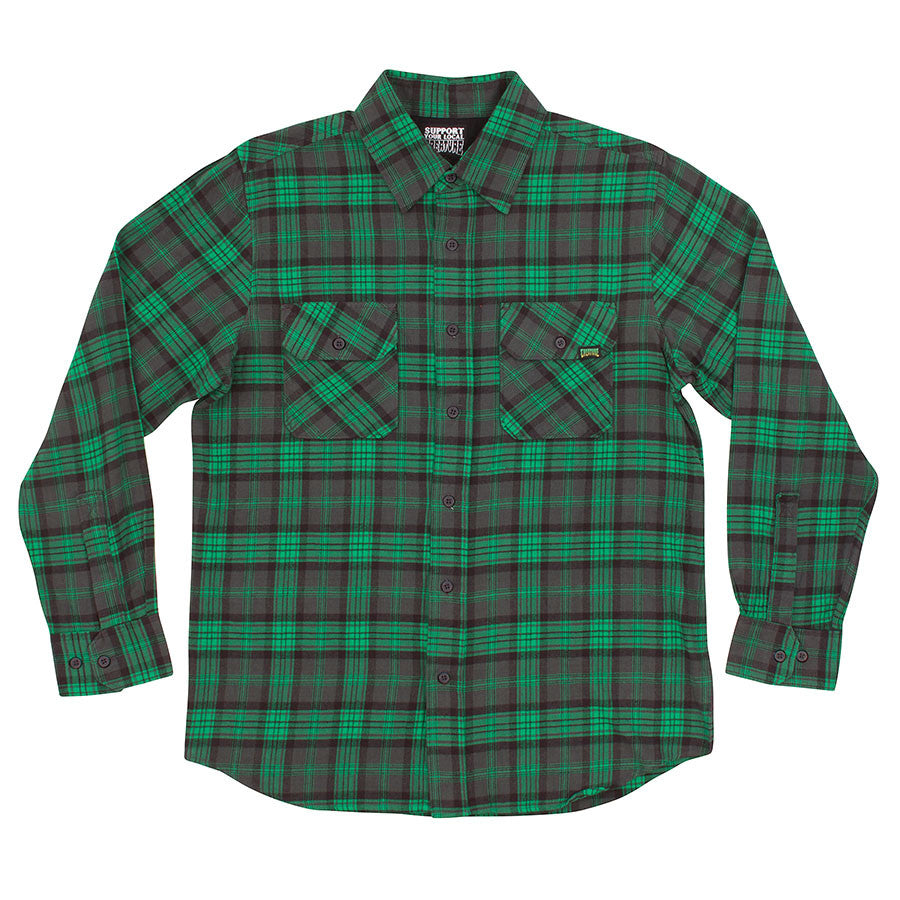 Creature Hannibal Button Up L/S Men's Collared Shirt - Green/Grey/Black Plaid