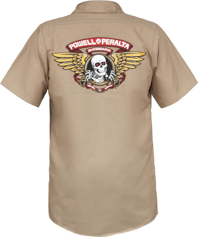 Powell-Peralta Winged Ripper Work Shirt Men's Collared Shirt - Khaki - Large