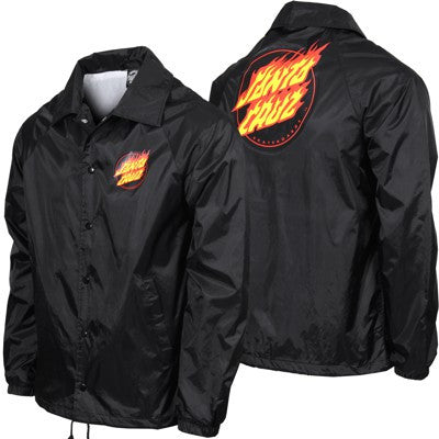 Santa Cruz Flaming Dot Coach Windbreaker Lined Men's Jacket - Black