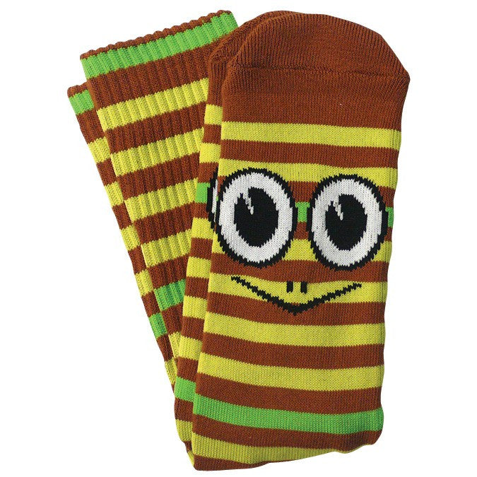 Toy Machine Turtle Men's Striped Socks - Brown (1 Pair)