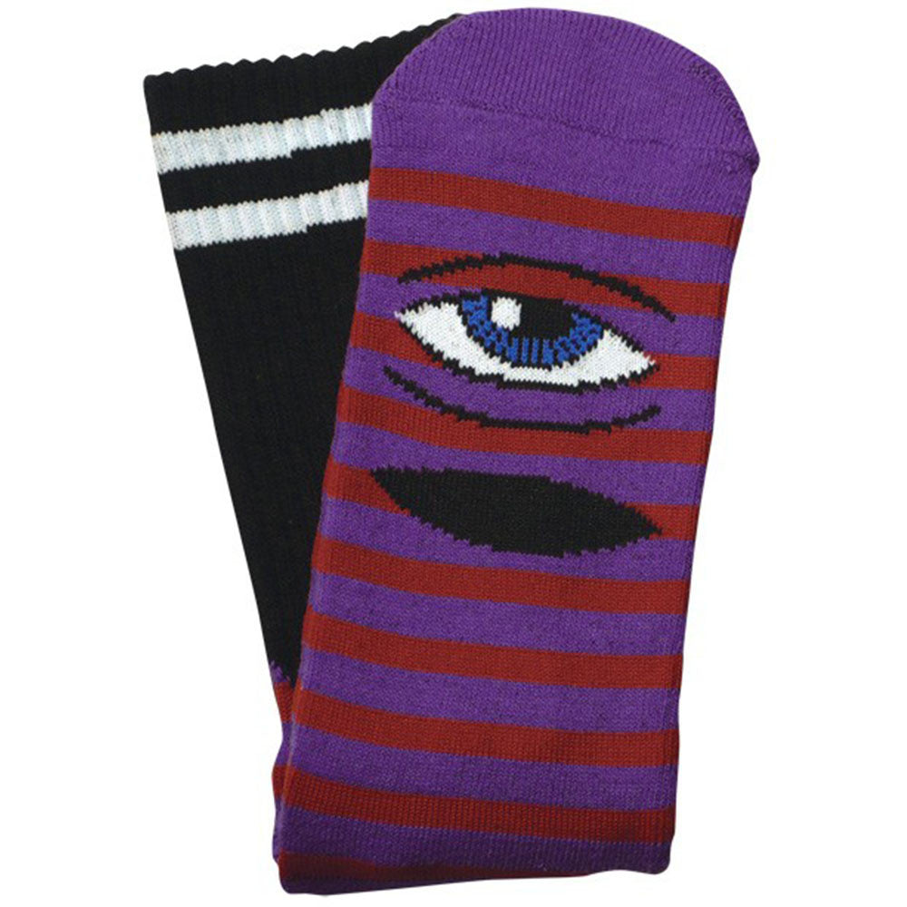 Toy Machine Sect Eye Stripe Men's Socks - Purple/Red (1 Pair)