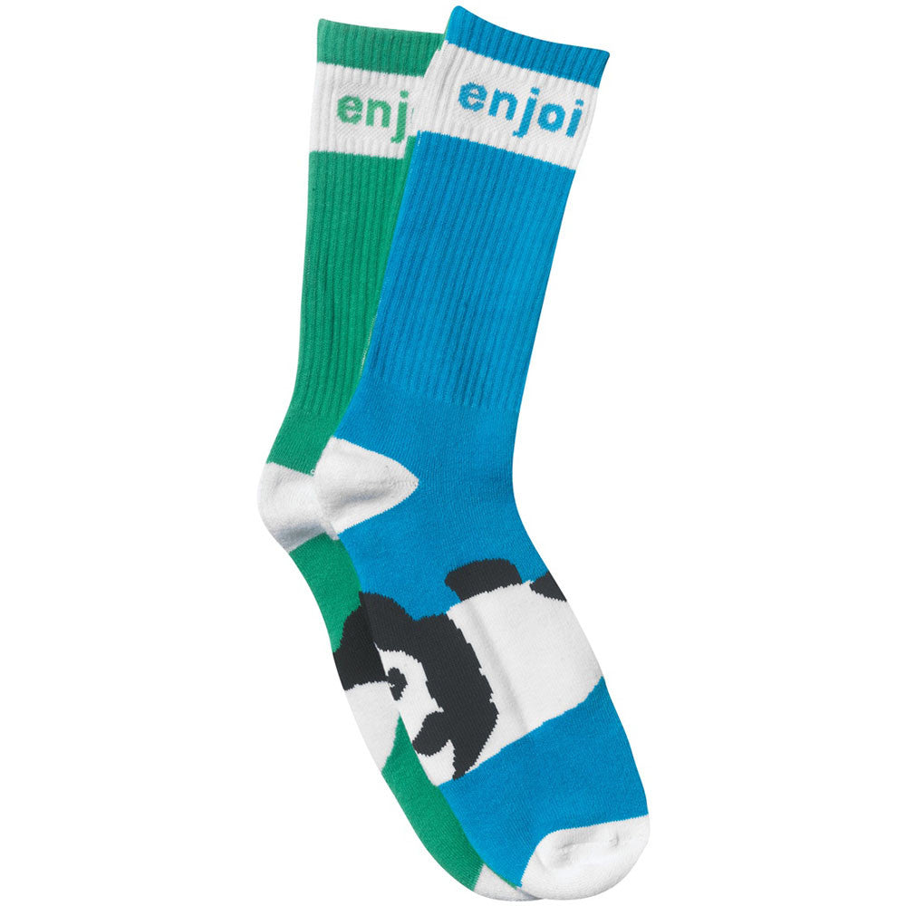 Enjoi Mixed Panda Foot Men's Socks - Green/Blue (1 Pair)