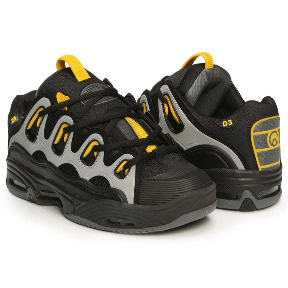 Osiris D Shoes Black Charcoal Yellow