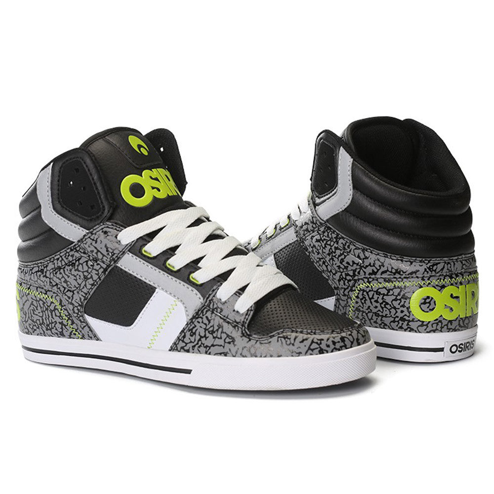 Osiris Clone - Men's Skateboard Shoes - Black/Lime/Elephant
