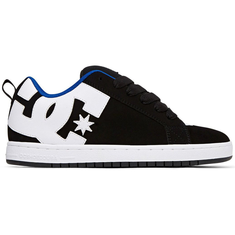 DC Court Graffik Men's Skateboard Shoes - Black/White/Blue XKWB