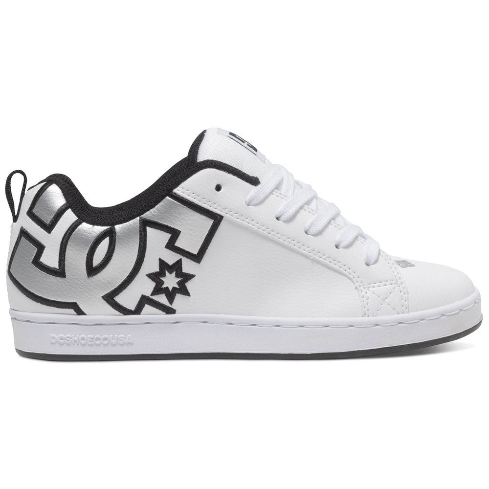 DC Court Graffik Women's Skateboard Shoes - White/Metallic Silver WM5