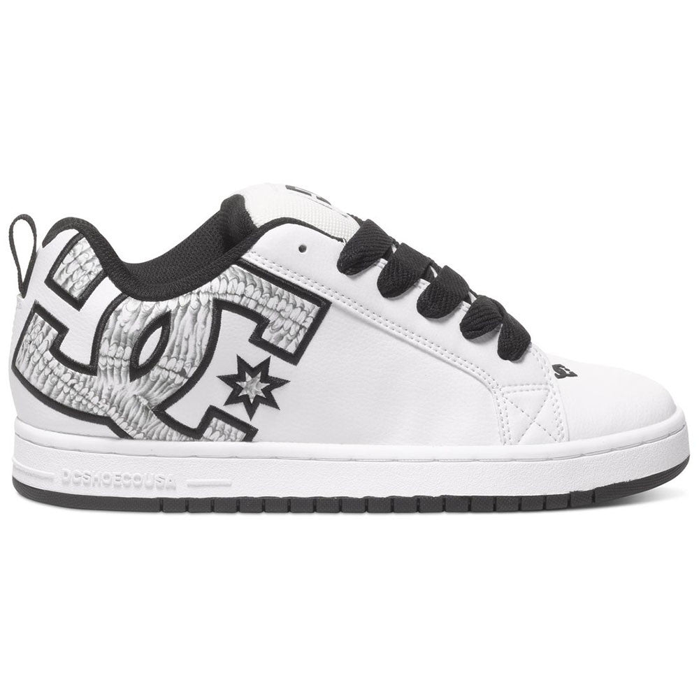 DC Court Graffik S Men's Skateboard Shoes - White/White Print WW3