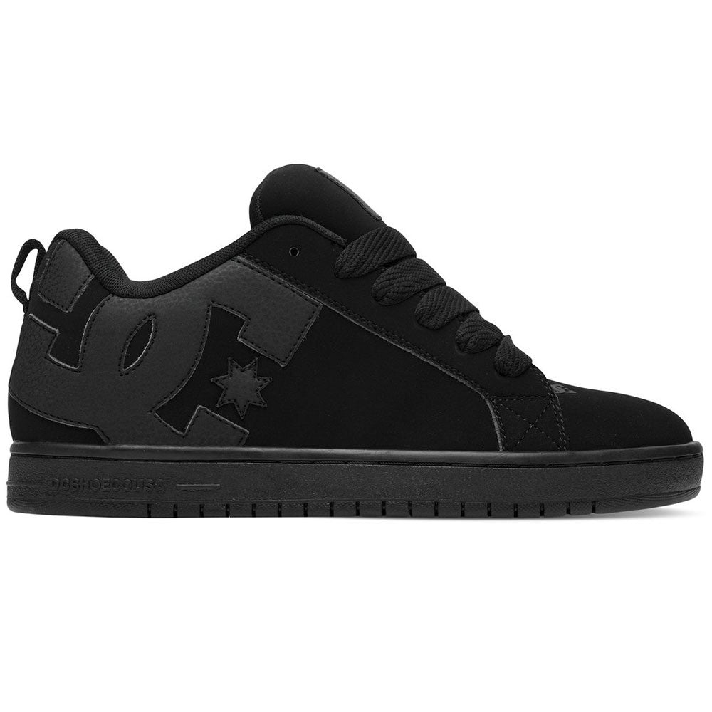 DC Court Graffik Men's Skateboard Shoes - Black/Black/Black 3BK