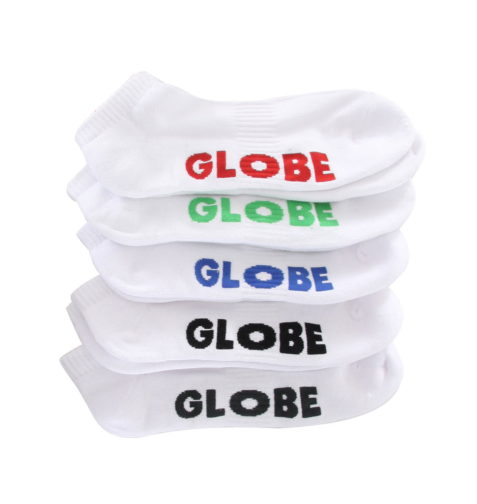 Globe Stealth Ankle Men's Socks - White/Black (5 Pairs)